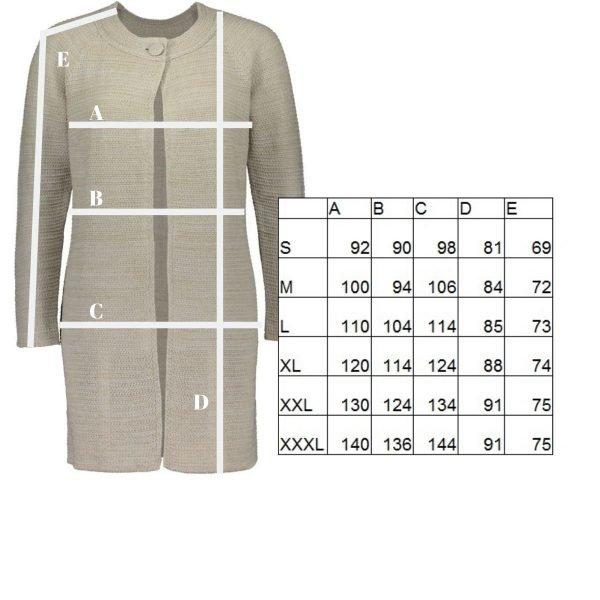 Helmi pellavaneulejakku 17019 mittataulukko