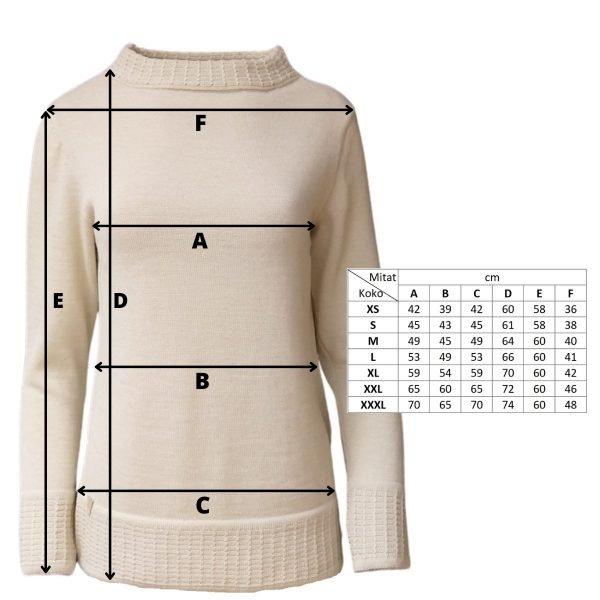 Pirita Design Metsäntyttö 19121 alpakkaneulepusero white mittakuva
