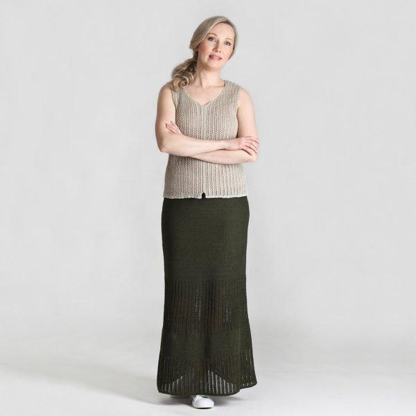 Pirita Design Tuulia-hame vihreä paju-toppi pellava