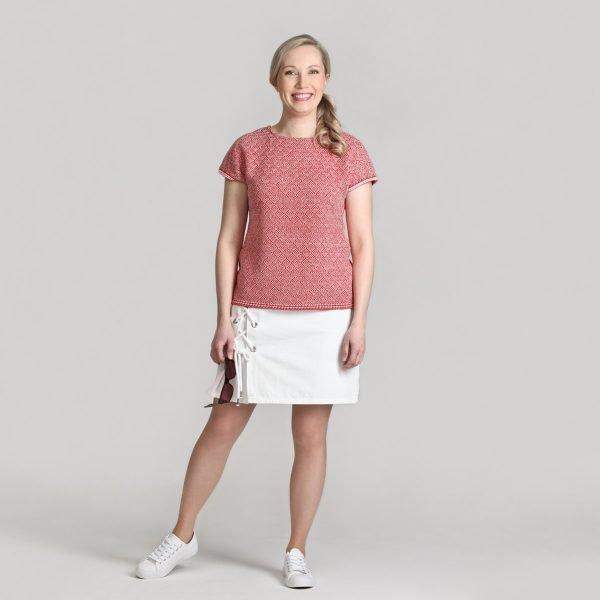 Pirita Design Seili-pusero puna-valkoinen