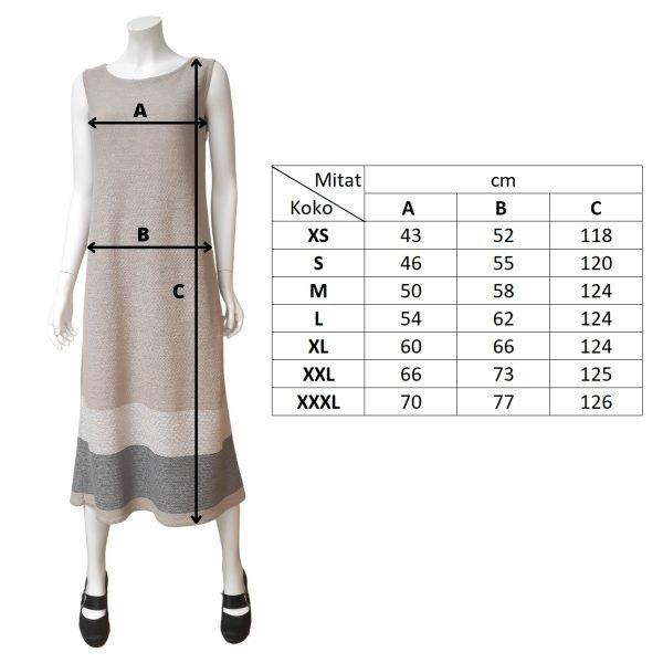 Pirita Design Leinikki-mekko pellava mittakuva