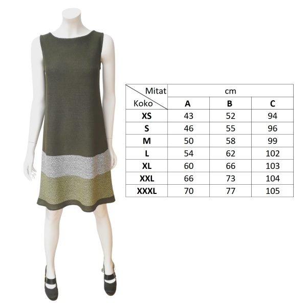 Pirita Design Orvokki-mekko vihreä mittakuva