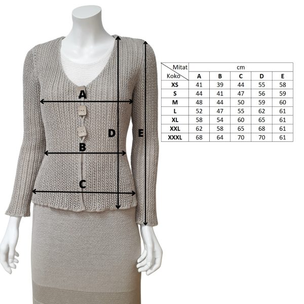 Pirita Design Suvi-jakku pellava mitat